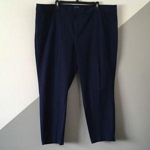 NYDJ 22W Stetch Ankle Pants Khaki Chino Navy Blue